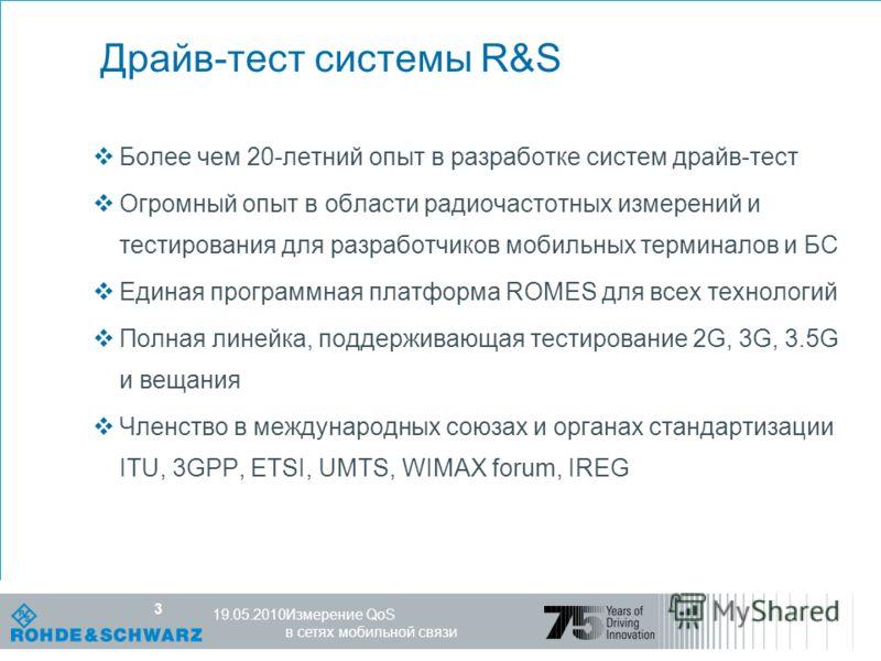 Компетентность в мире радио R&S, 25.10.07 3 Измерение QoS в сетях мобильной связи 19.05.2010 3 Драйв-тест системы R&S Более чем 20-летний опыт в разработке систем драйв-тест Огромный опыт в области радиочастотных измерений и тестирования для разработ