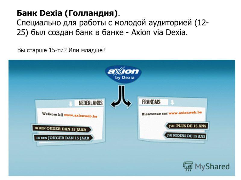 Банк Dexia (Голландия). Специально для работы с молодой аудиторией (12- 25) был создан банк в банке - Axion via Dexia. Вы старше 15-ти? Или младше?