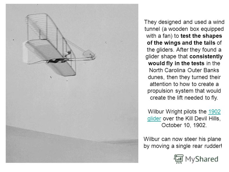 They designed and used a wind tunnel (a wooden box equipped with a fan) to test the shapes of the wings and the tails of the gliders. After they found a glider shape that consistently would fly in the tests in the North Carolina Outer Banks dunes, th
