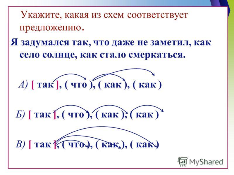 Укажите, какая из схем соответствует предложению. Я задумался так, что даже не заметил, как село солнце, как стало смеркаться. А) [ так ], ( что ), ( как ), ( как ) Б) [ так ], ( что ), ( как ), ( как ) В) [ так ], ( что ), ( как ), ( как )