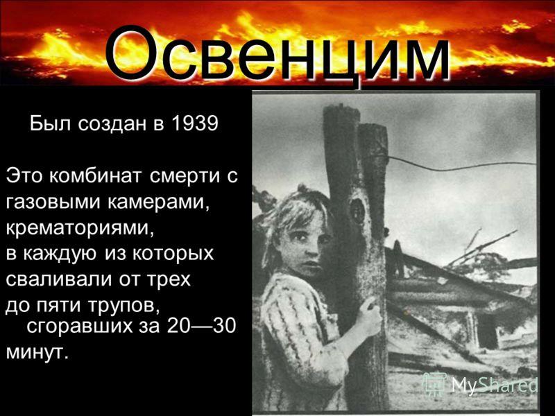 Освенцим Был создан в 1939 Это комбинат смерти с газовыми камерами, крематориями, в каждую из которых сваливали от трех до пяти трупов, сгоравших за 2030 минут.