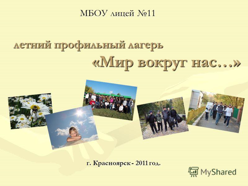 летний профильный лагерь «Мир вокруг нас…» г. Красноярск - 2011 год. МБОУ лицей 11