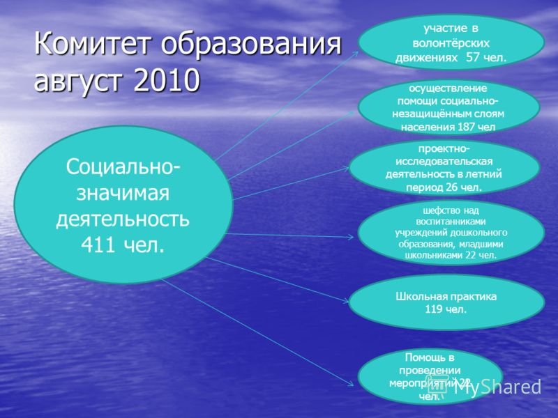 Комитет образования август 2010 Социально- значимая деятельность 411 чел. осуществление помощи социально- незащищённым слоям населения 187 чел участие в волонтёрских движениях 57 чел. проектно- исследовательская деятельность в летний период 26 чел. ш