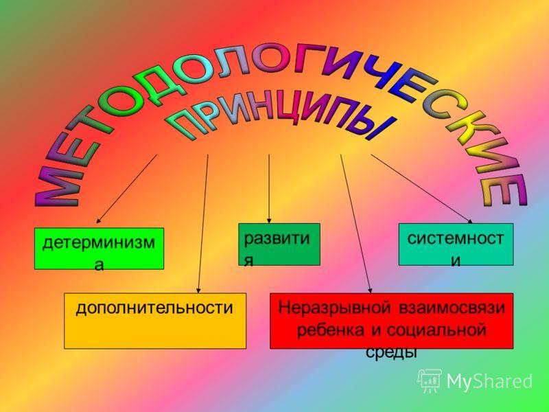 детерминизм а развити я системност и дополнительностиНеразрывной взаимосвязи ребенка и социальной среды