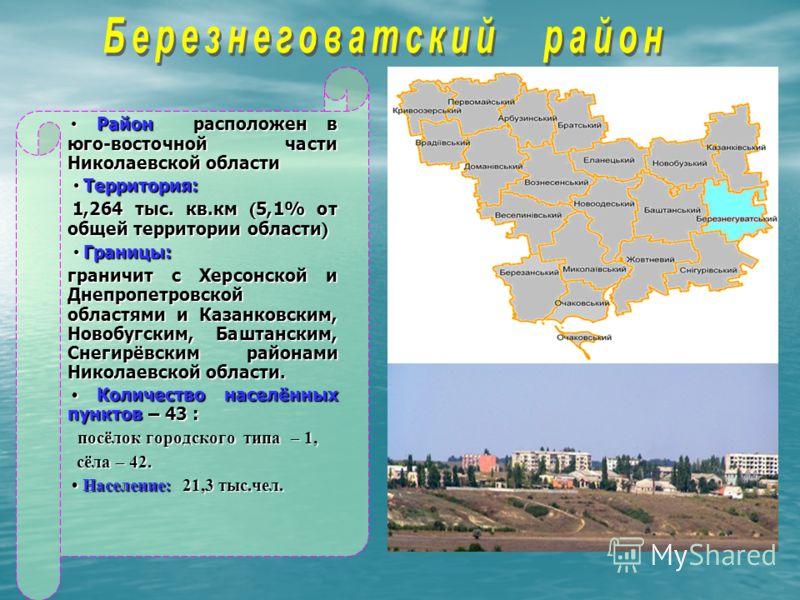 Район расположен в юго-восточной части Николаевской области Район расположен в юго-восточной части Николаевской области Территория: Территория: 1,264 тыс. кв.км ( 5,1% от общей территории области ) 1,264 тыс. кв.км ( 5,1% от общей территории области