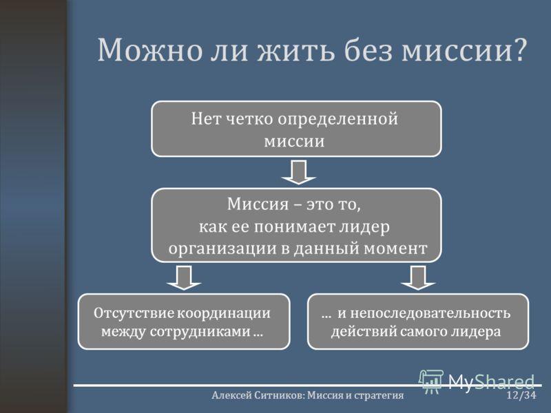 Алексей Ситников: Миссия и стратегия12/34 Можно ли жить без миссии? Нет четко определенной миссии Миссия – это то, как ее понимает лидер организации в данный момент Отсутствие координации между сотрудниками...... и непоследовательность действий самог