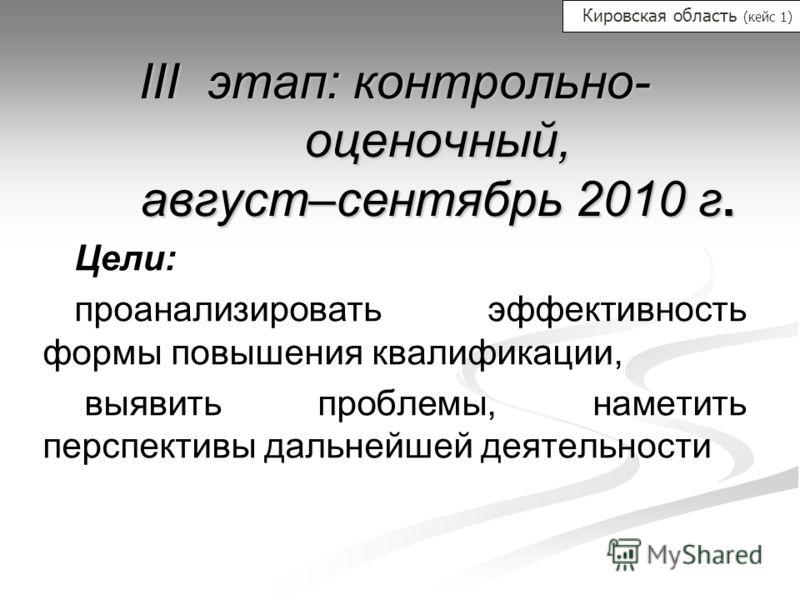 III этап: контрольно- оценочный, август–сентябрь 2010 г. Цели: проанализировать эффективность формы повышения квалификации, выявить проблемы, наметить перспективы дальнейшей деятельности Кировская область (кейс 1)