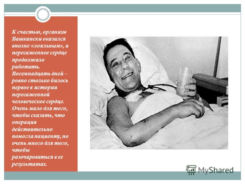 К счастью, организм Вашкански оказался вполне «лояльным», и пересаженное сердце продолжало работать. Восемнадцать дней – ровно столько билось первое в истории пересаженной человеческое сердце. Очень мало для того, чтобы сказать, что операция действит