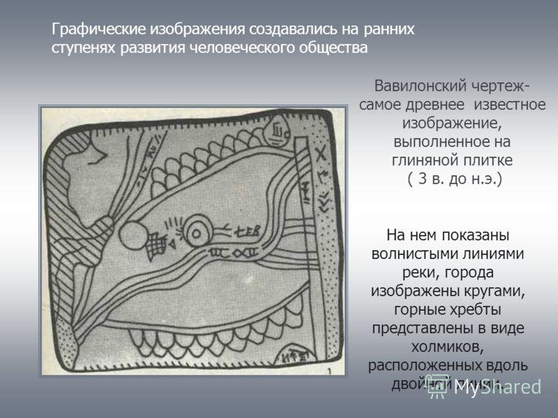 Графические изображения создавались на ранних ступенях развития человеческого общества Вавилонский чертеж- самое древнее известное изображение, выполненное на глиняной плитке ( 3 в. до н.э.) На нем показаны волнистыми линиями реки, города изображены