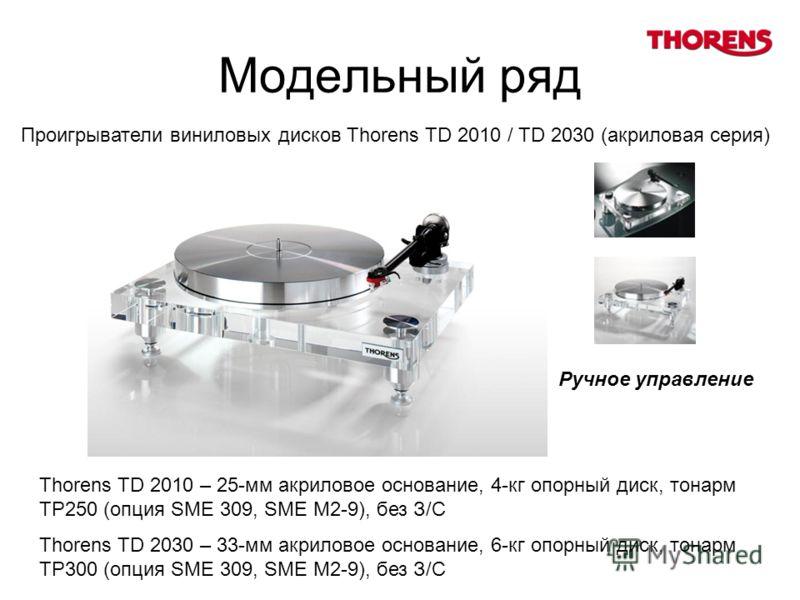Модельный ряд Проигрыватели виниловых дисков Thorens TD 2010 / TD 2030 (акриловая серия) Thorens TD 2010 – 25-мм акриловое основание, 4-кг опорный диск, тонарм TP250 (опция SME 309, SME M2-9), без З/С Thorens TD 2030 – 33-мм акриловое основание, 6-кг