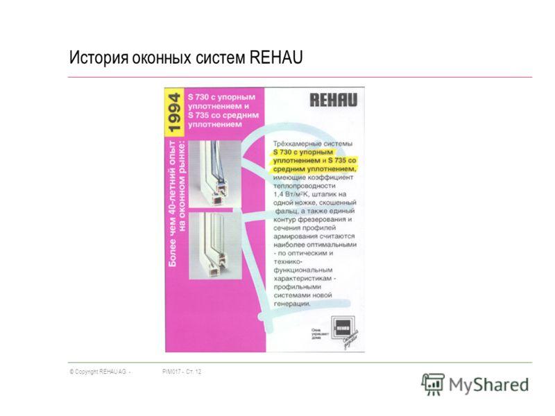 PIM017 -Ст. 12© Copyright REHAU AG - История оконных систем REHAU