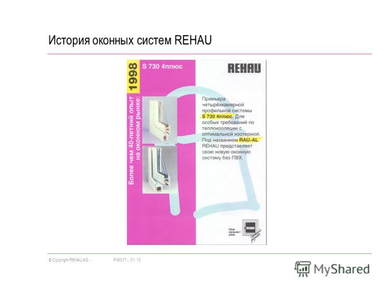 PIM017 -Ст. 13© Copyright REHAU AG - История оконных систем REHAU