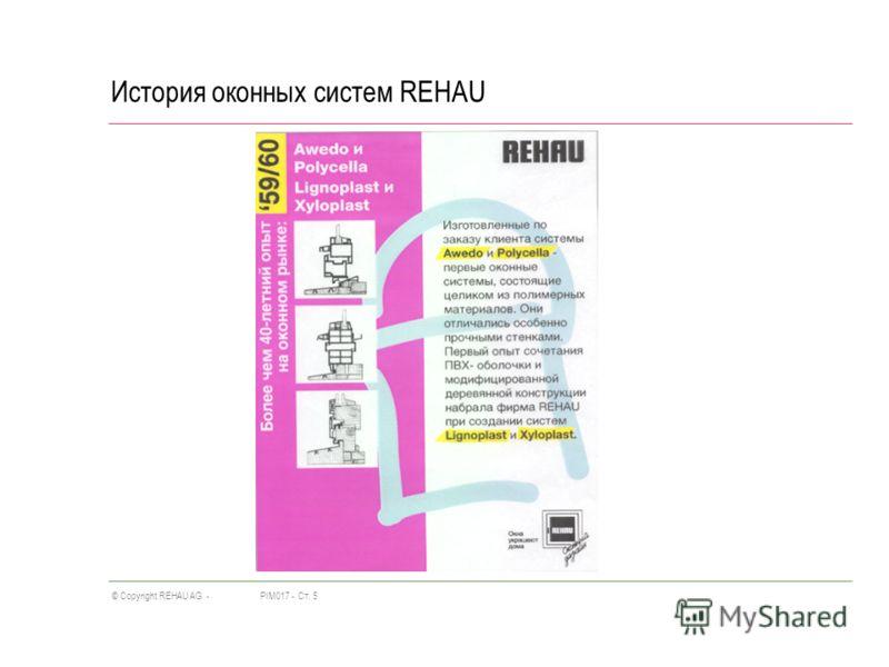 PIM017 -Ст. 5© Copyright REHAU AG - История оконных систем REHAU