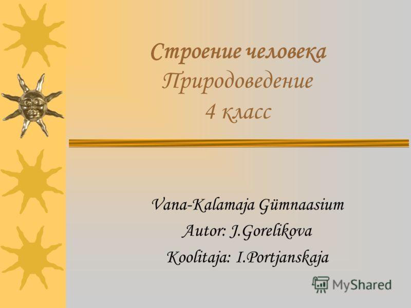 Строение человека Природоведение 4 класс Vana-Kalamaja Gümnaasium Autor: J.Gorelikova Koolitaja: I.Portjanskaja