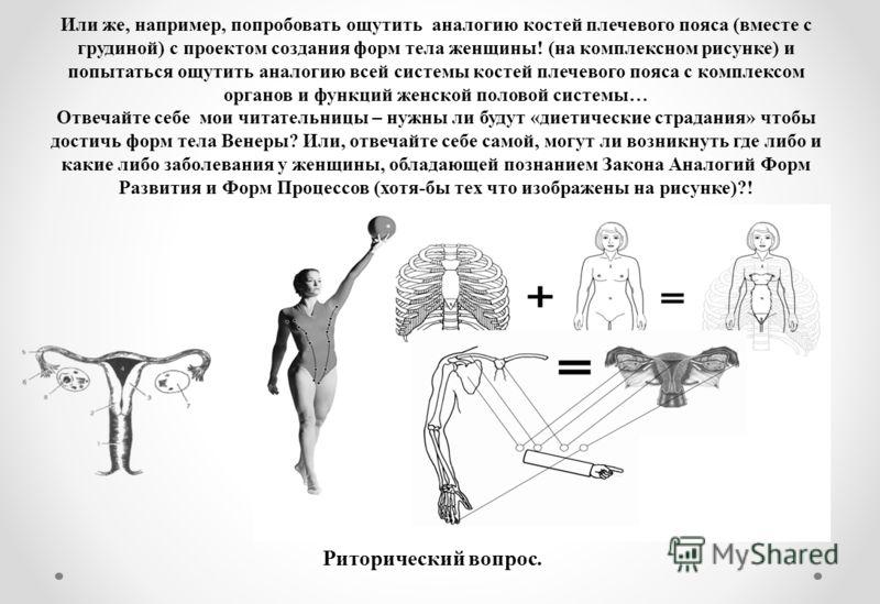 Или же, например, попробовать ощутить аналогию костей плечевого пояса (вместе с грудиной) с проектом создания форм тела женщины! (на комплексном рисунке) и попытаться ощутить аналогию всей системы костей плечевого пояса с комплексом органов и функций