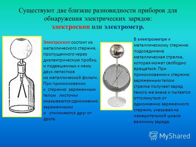Существуют две близкие разновидности приборов для обнаружения электрических зарядов: электроскоп или электрометр. Электроскоп состоит из металлического стержня, пропущенного через диэлектрическую пробку, и подвешенных к нему двух лепестков из металли
