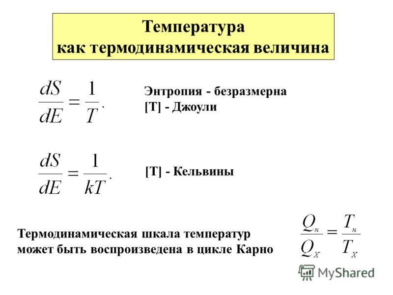 Температура как термодинамическая величина Энтропия - безразмерна [T] - Джоули [T] - Кельвины Термодинамическая шкала температур может быть воспроизведена в цикле Карно