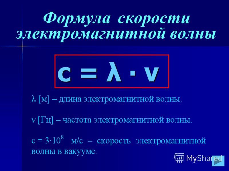 Формула скорости электромагнитной волныс = λ ν