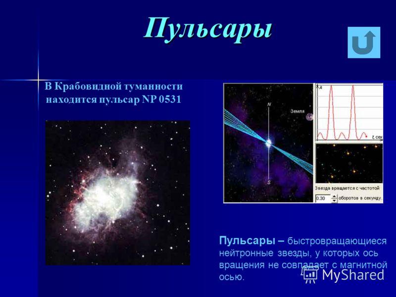 Пульсары В Крабовидной туманности находится пульсар NP 0531 Пульсары – быстровращающиеся нейтронные звезды, у которых ось вращения не совпадает с магнитной осью.
