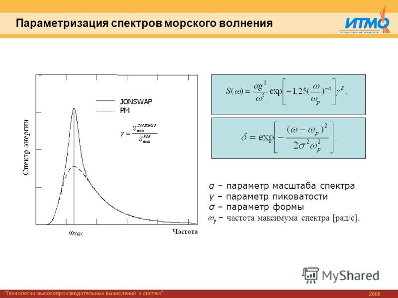 2008 Технологии высокопроизводительных вычислений и систем Параметризация спектров морского волнения α – параметр масштаба спектра γ – параметр пиковатости σ – параметр формы – частота максимума спектра [рад/с].