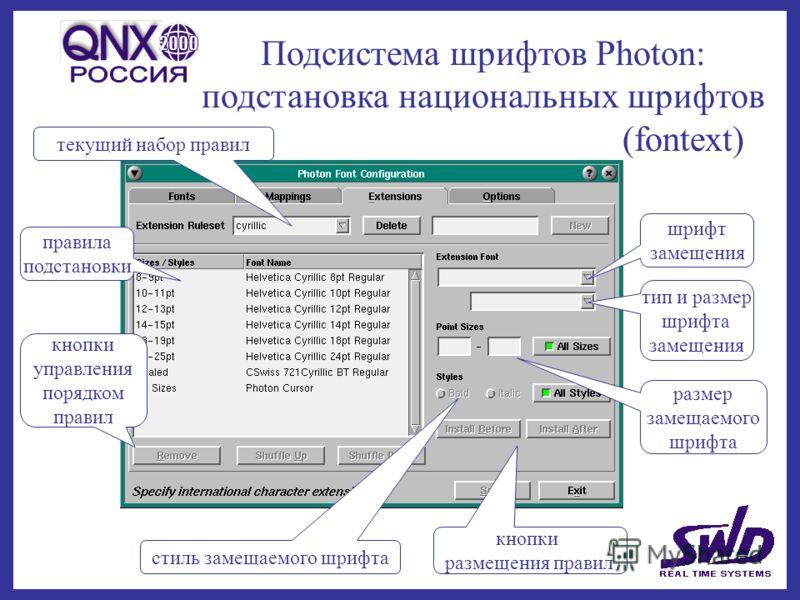 Подсистема шрифтов Photon: подстановка национальных шрифтов (fontext) текущий набор правил правила подстановки шрифт замещения тип и размер шрифта замещения размер замещаемого шрифта стиль замещаемого шрифта кнопки размещения правил кнопки управления