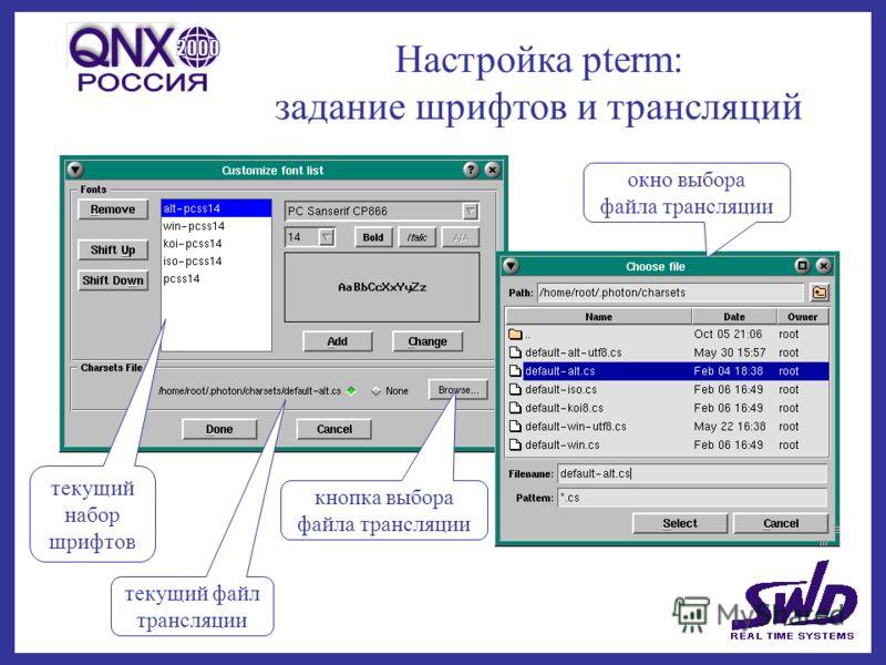 Настройка pterm: задание шрифтов и трансляций текущий файл трансляции окно выбора файла трансляции кнопка выбора файла трансляции текущий набор шрифтов