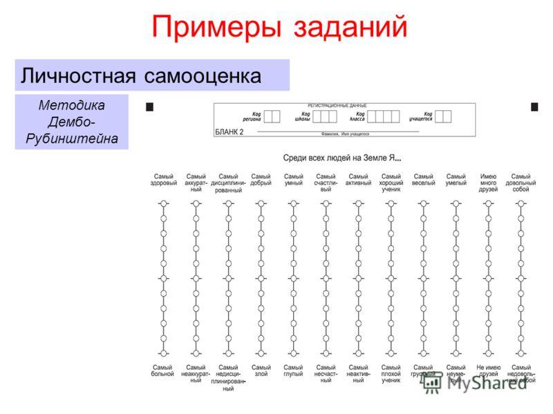 Примеры заданий Личностная самооценка Методика Дембо- Рубинштейна