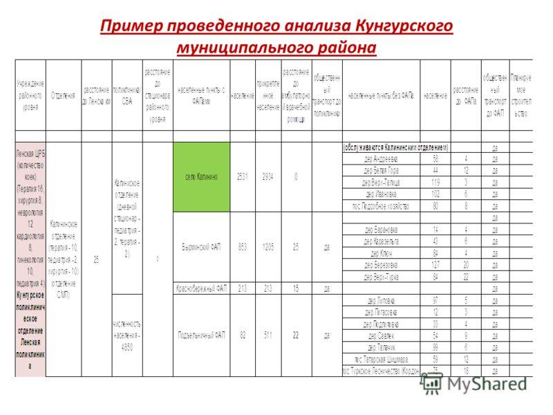 Пример проведенного анализа Кунгурского муниципального района