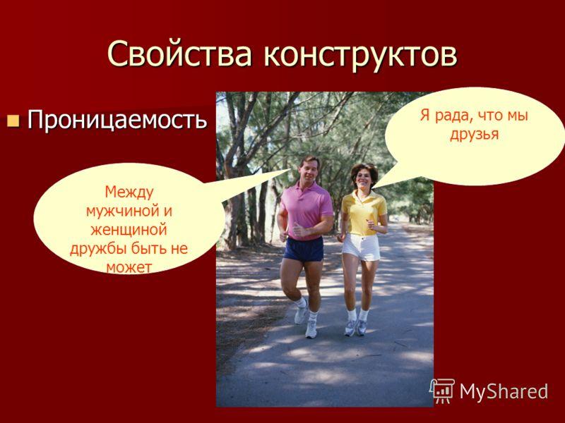 Свойства конструктов Проницаемость Проницаемость Я рада, что мы друзья Между мужчиной и женщиной дружбы быть не может