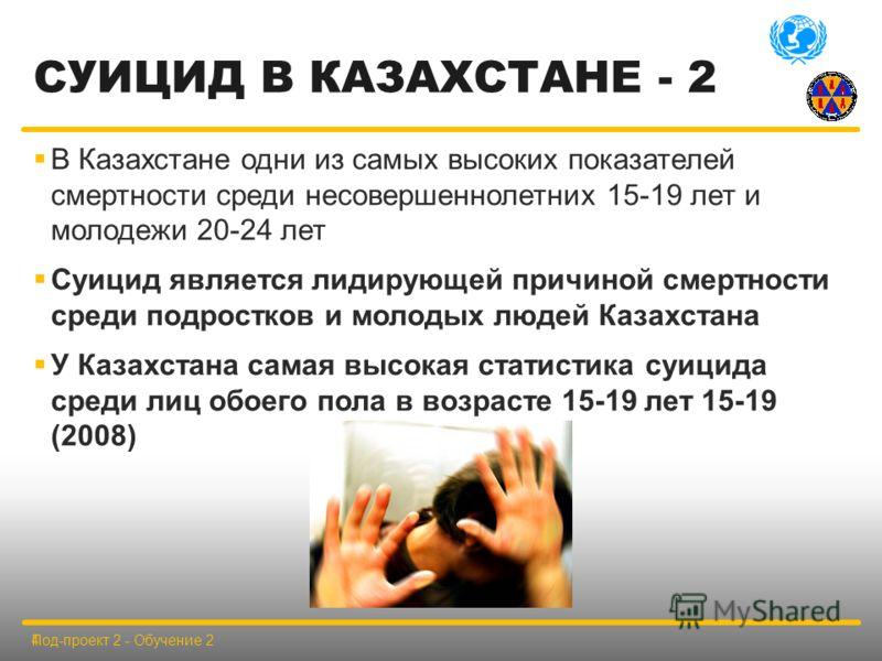 СУИЦИД В КАЗАХСТАНЕ - 2 В Казахстане одни из самых высоких показателей смертности среди несовершеннолетних 15-19 лет и молодежи 20-24 лет Суицид является лидирующей причиной смертности среди подростков и молодых людей Казахстана У Казахстана самая вы