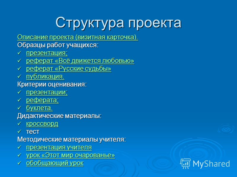 Структура проекта описание проекта