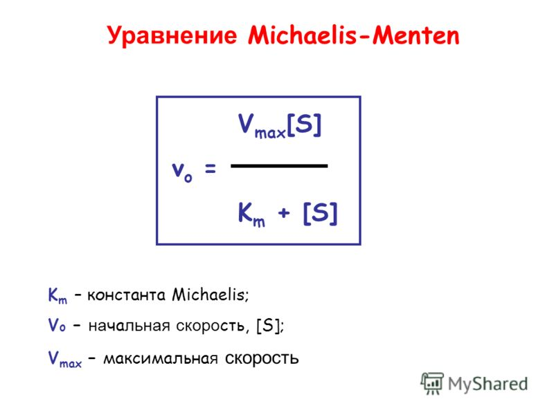 V max [S] v o = K m + [S] Уравнение Michaelis-Menten K m – константа Michaelis; V o – на ча льная скоро сть, [S]; V max – максимальна я скорость