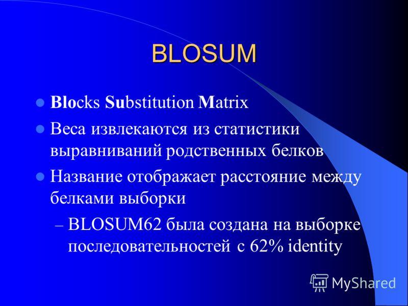 BLOSUM Blocks Substitution Matrix Веса извлекаются из статистики выравниваний родственных белков Название отображает расстояние между белками выборки – BLOSUM62 была создана на выборке последовательностей с 62% identity