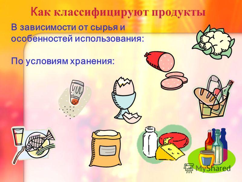К ак классифицируют продукты В зависимости от сырья и особенностей использования: По условиям хранения: