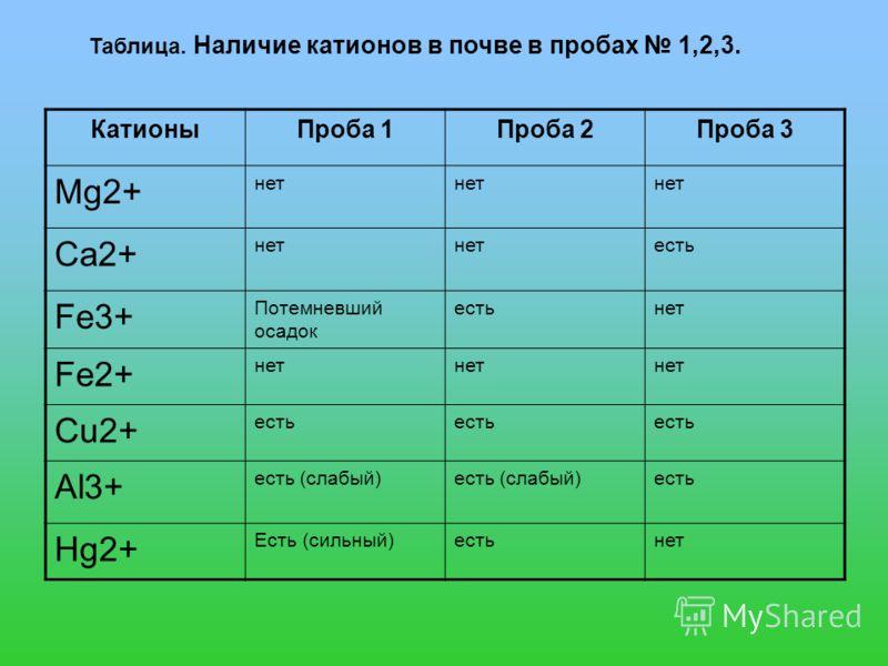 КатионыПроба 1Проба 2Проба 3 Mg2+ нет Ca2+ нет есть Fe3+ Потемневший осадок естьнет Fe2+ нет Cu2+ есть Al3+ есть (слабый) есть Hg2+ Есть (сильный)естьнет Таблица. Наличие катионов в почве в пробах 1,2,3.