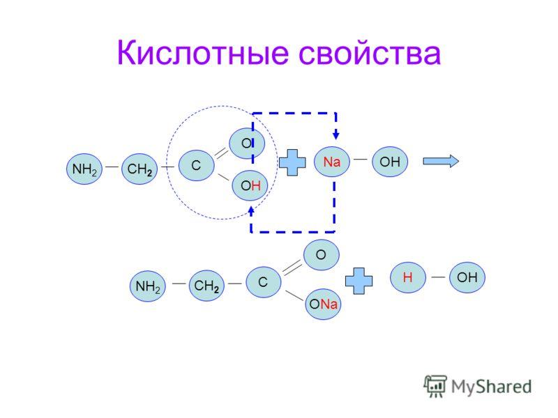 Кислотные свойства NH 2 CH 2 O O C О ONa C NaOH H H NH 2