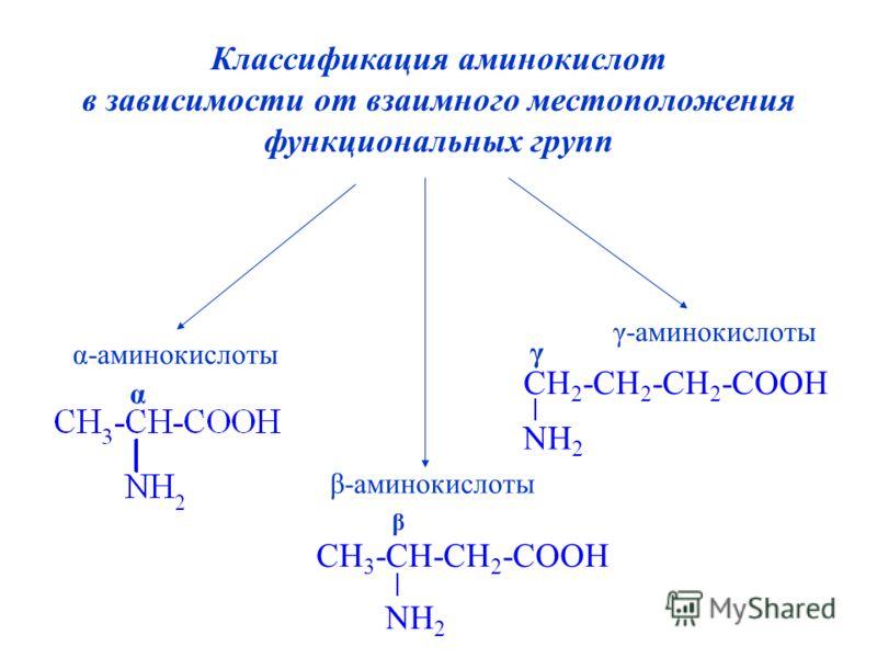 Классификация аминокислот в зависимости от взаимного местоположения функциональных групп α-аминокислоты γ-аминокислоты β-аминокислоты α CH 3 -CH-CH 2 -COOH NH 2 β CH 2 -CH 2 -CH 2 -COOH NH 2 γ