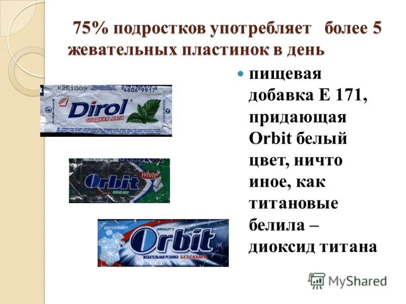 75% подростков употребляет более 5 жевательных пластинок в день 75% подростков употребляет более 5 жевательных пластинок в день пищевая добавка Е 171, придающая Orbit белый цвет, ничто иное, как титановые белила – диоксид титана