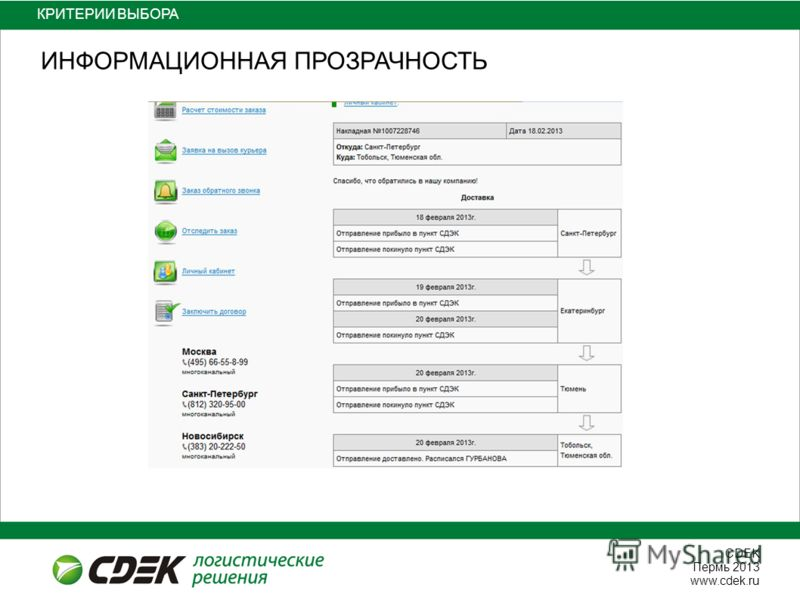 СDEK Пермь 2013 www.cdek.ru КРИТЕРИИ ВЫБОРА ИНФОРМАЦИОННАЯ ПРОЗРАЧНОСТЬ