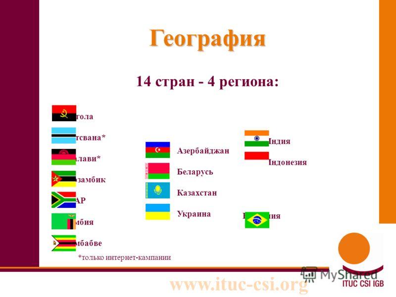 www.ituc-csi.org География 14 стран - 4 региона: Aнгола Ботсвана* Mалави* Mозамбик ЮАР Замбия Зимбабве Азербайджан Беларусь Казахстан Украина Бразилия Индия Индонезия *только интернет-кампании