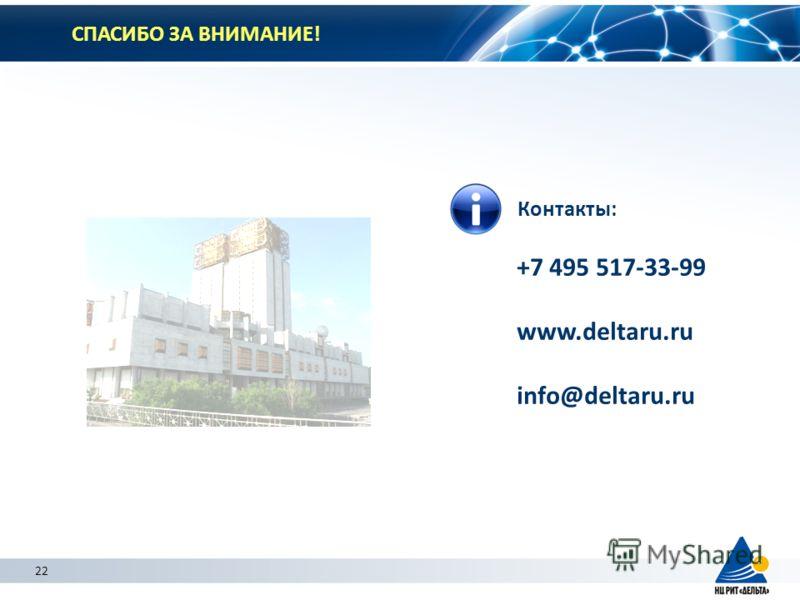 22 СПАСИБО ЗА ВНИМАНИЕ! Контакты: +7 495 517-33-99 www.deltaru.ru info@deltaru.ru 22