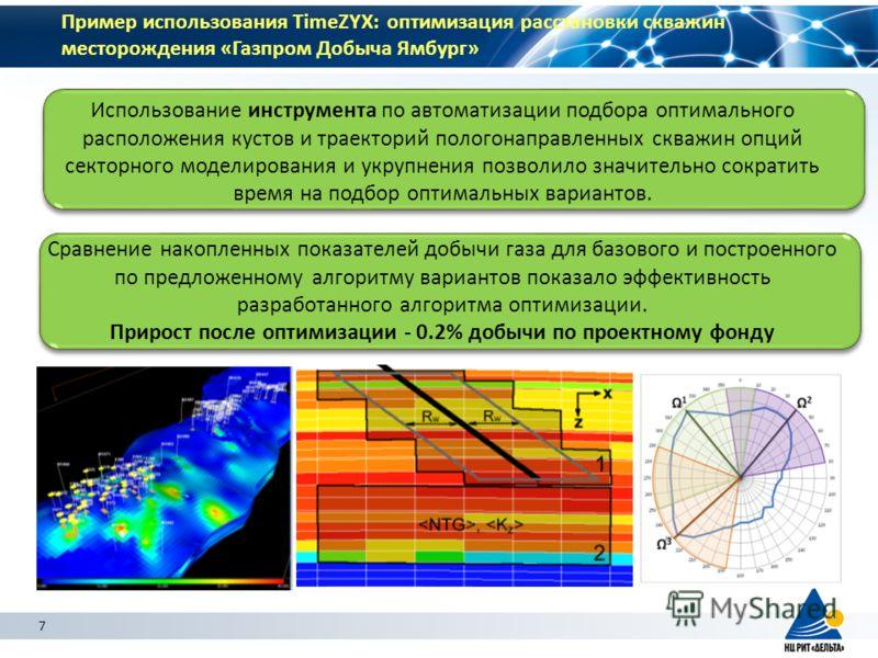7 Пример использования TimeZYX: оптимизация расстановки скважин месторождения «Газпром Добыча Ямбург» Использование инструмента по автоматизации подбора оптимального расположения кустов и траекторий пологонаправленных скважин опций секторного моделир