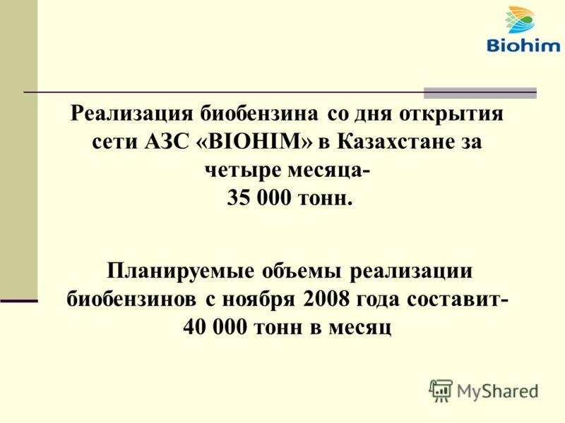 Реализация биобензина со дня открытия сети АЗС «BIOHIM» в Казахстане за четыре месяца- 35 000 тонн. Планируемые объемы реализации биобензинов с ноября 2008 года составит- 40 000 тонн в месяц