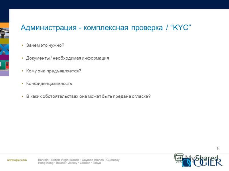 14 Администрация - комплексная проверка / KYC Зачем это нужно? Документы / необходимая информация Кому она предъявляется? Конфиденциальность В каких обстоятельствах она может быть предана огласке?