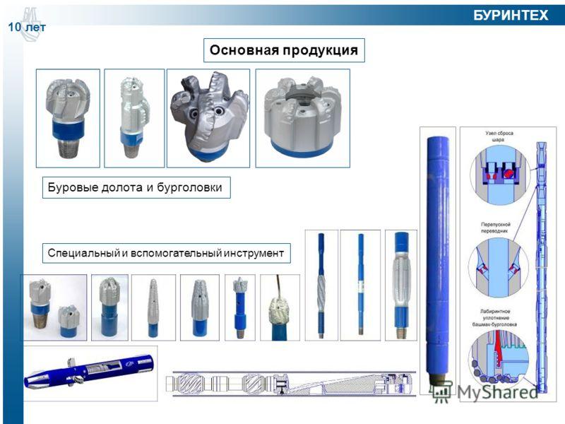 Основная продукция Буровые долота и бурголовки Специальный и вспомогательный инструмент 10 лет БУРИНТЕХ