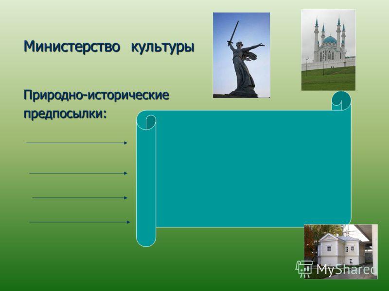 Министерство культуры Природно-историческиепредпосылки: