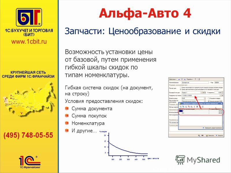 Слайд 12 из 48 Альфа-Авто 4 Возможность установки цены от базовой, путем применения гибкой шкалы скидок по типам номенклатуры. Гибкая система скидок (на документ, на строку) Условия предоставления скидок: Сумма документа Сумма покупок Номенклатура И