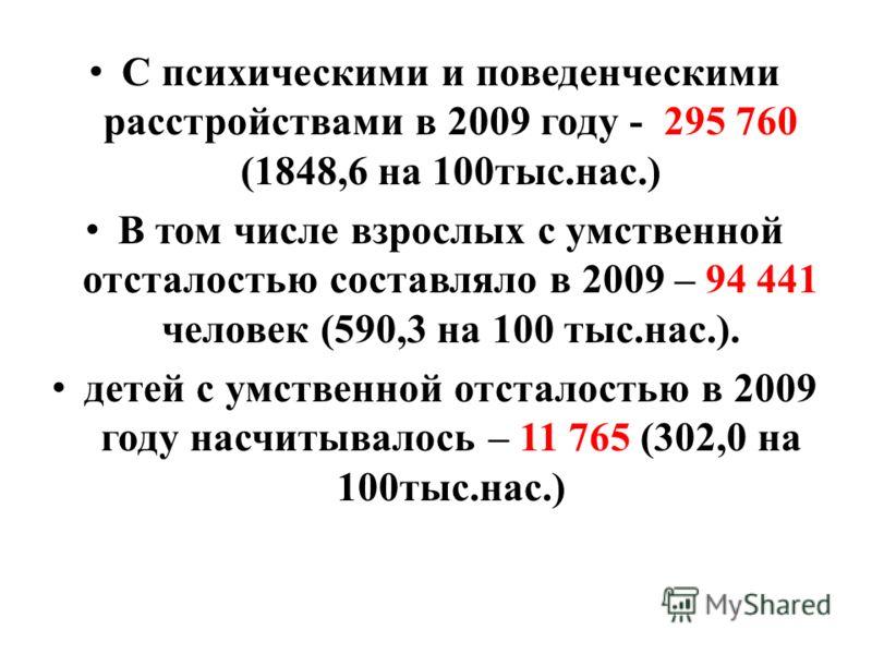 С психическими и поведенческими расстройствами в 2009 году - 295 760 (1848,6 на 100тыс.нас.) В том числе взрослых с умственной отсталостью составляло в 2009 – 94 441 человек (590,3 на 100 тыс.нас.). детей с умственной отсталостью в 2009 году насчитыв
