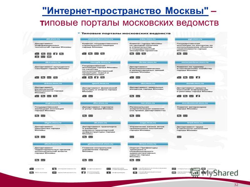 32 Интернет-пространство МосквыИнтернет-пространство Москвы – типовые порталы московских ведомств