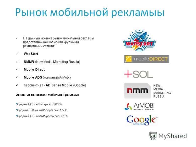 Рынок мобильной рекламыы На данный момент рынок мобильной рекламы представлен несколькими крупными рекламными сетями: WapStart NMMR (New Media Marketing Russia) Mobile Direct Mobile ADS (компания ArMobi) перспектива - AD Sense Mobile (Google) Основны